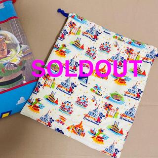 Disney - ディズニー紙袋柄 お着替えバッグ 体操着入れ ハンドメイド