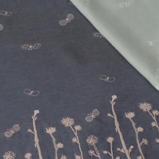 mina perhonen - ミナペルホネン choucho noppara 生地 ハギレ グレー 刺繍ピンク