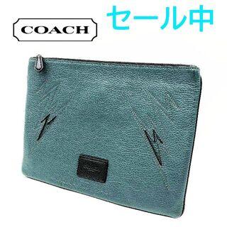 コーチ(COACH)のCOACH コーチ クラッチバッグ 革 グリーン(その他)