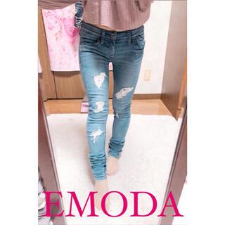 エモダ(EMODA)の4104.EMODA ダメージデニム スキニーデニム 0サイズ(スキニーパンツ)