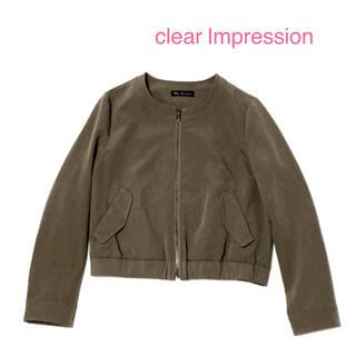 クリアインプレッション(CLEAR IMPRESSION)のクリアインプレッション ノーカラージャケット ブルゾン M カーキ(ノーカラージャケット)