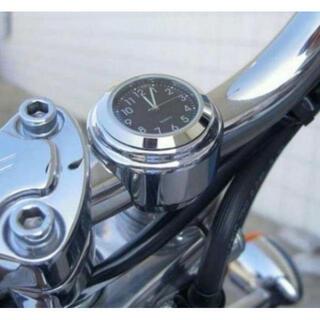 アナログ時計 バイク ハンドル取り付け 簡単装着 ブラック(その他)