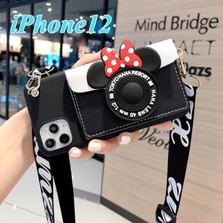 iPhone12Promax用 スマホケース ミニーちゃん ストラップ付き(iPhoneケース)