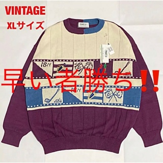 ART VINTAGE - 【新品】VINTAGE デザインニット ゴルフウェア 刺繍 古着 オーバーサイズ