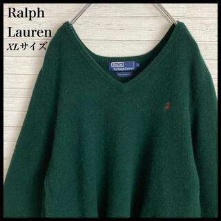 Ralph Lauren - 【激レア】ラルフローレン☆刺繍ロゴ ニット セーター グリーン ラムウール