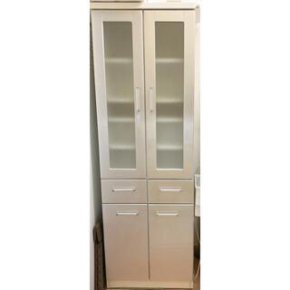 ニトリ - 【美品】ニトリ スリム食器棚 高さ180cm ホワイト×シルバー