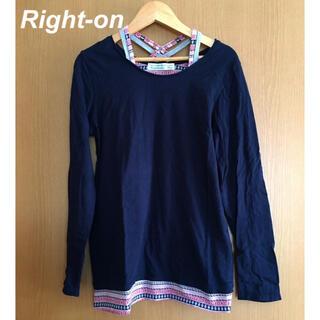 Right-on - Right-on HoneySuckleRose 肩紐ストラップTシャツ 紺