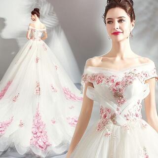 ウエディングドレス プリンセス ワンショルダー オーガンジー 半袖 花嫁(ウェディングドレス)