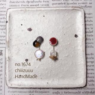 no.1674 ガラスとタイルのアシンメトリーピアス/イヤリング