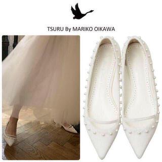 ツルバイマリコオイカワ(TSURU by Mariko Oikawa)の38500円⭐︎ツルバイマリコオイカワ Tiara ハラコ ホワイト新品23.5(ハイヒール/パンプス)