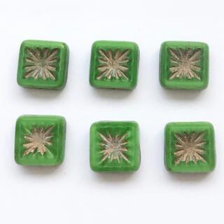 チェコビーズ テーブルカットレクタングル(グリーン)6個