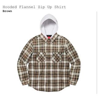 Supreme - XL 茶 Supreme Hooded Flannel Zip Up Shirt