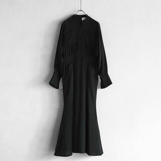 mame - マメクロゴウチ Wool Georgette Flare Dress black