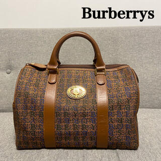 バーバリー(BURBERRY)の【希少】 バーバリー ミニボストン 文字ロゴ キャンバス イタリア 最高級(ハンドバッグ)