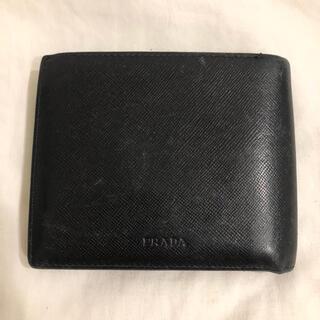 PRADA - プラダ PRADA ブラック 二つ折り財布 小銭入れなし カード お札入れ