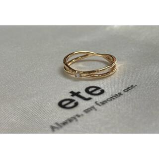 エテ(ete)のete K10 YG  クロスライン ダイヤモンド ピンキーリング #1 エテ(リング(指輪))