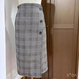 しまむら - 未使用 グレンチェック タイトスカートグレー Lサイズ あったか仕様
