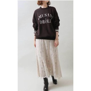 IENA - 今期!秋冬物 IENA フラワーレースフレアースカート40サイズ