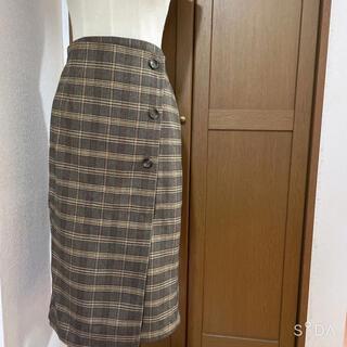 しまむら - 未使用 グレンチェック タイトスカート ブラウン系 Lサイズ あったか仕様