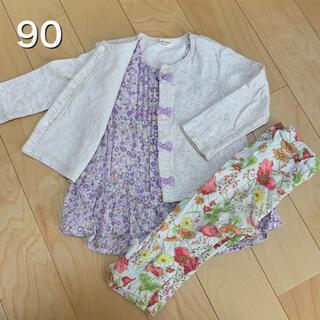 キッズズー(kid's zoo)のkid's zoo 長袖 重ね着風トップス 花柄 女の子 90(Tシャツ/カットソー)
