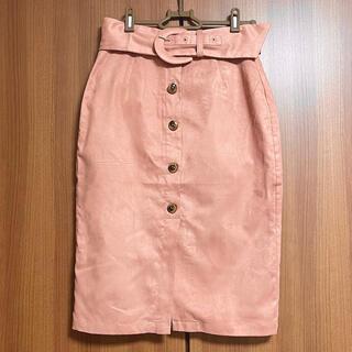 ロイヤルパーティー(ROYAL PARTY)のROYAL PARTY ボタン スエードスカート くすみピンク(ひざ丈スカート)