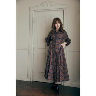snidel - Checkered Pleats Long Shirt Dress