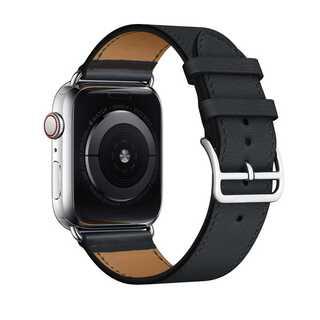 【B13】Apple Watch 本革バンド(ブラック) 42/44mm(その他)
