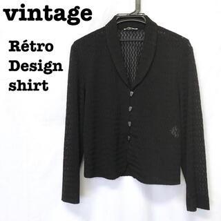 ロキエ(Lochie)の美品【 vintage 】 ゴシックデザイン レースブラウス レースシャツ 黒(シャツ/ブラウス(長袖/七分))