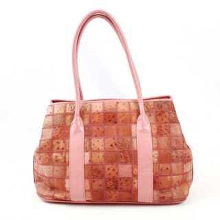 オーストリッチレザー パッチワーク トートバッグ ショルダーバッグ 鞄 ピンク