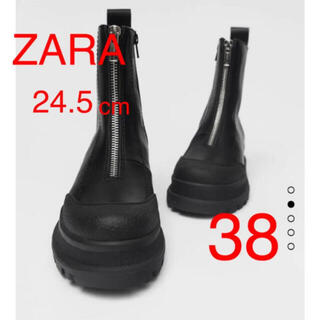 ZARA - ZARA ジップ付き ショートブーツ サイドジッパー アンクルブーツ 完売 38