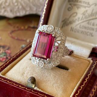 天然ルベライト トルマリン 天然ダイヤモンド プラチナリング ソーティング付き