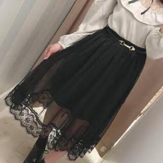 evelyn - evelyn レーススカート ブラック