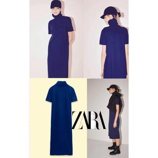 ZARA - ❤︎ザラ オットマンリブ地ワンピース ネイビーブルー M