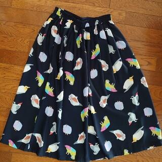 フェリシモ(FELISSIMO)のイラストレーター山口ちよこ 小鳥のスカート(ひざ丈スカート)