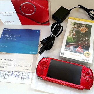 SONY - SONY PSP-3000 RR ラディアントレッド 本体 一式 ソフト1個付き