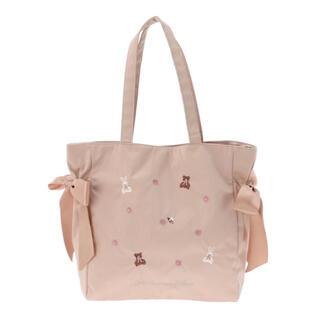 Maison de FLEUR - 新品 メゾンドフルール くまうさ刺繍 リボントートバッグ ベージュ