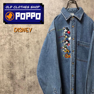 Disney - ディズニー☆ミッキーファミリーセンターキャラクター刺繍デニムシャツ 90s