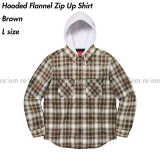 Supreme - Hooded Flannel Zip Up Shirt Brown L サイズ