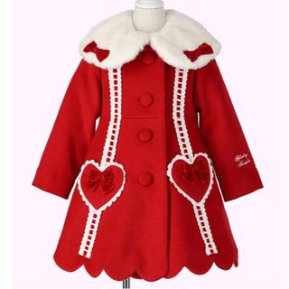 Shirley Temple - 美品 新作 はしごリボン ウールコート 80cm 90cm 赤 ベビーF