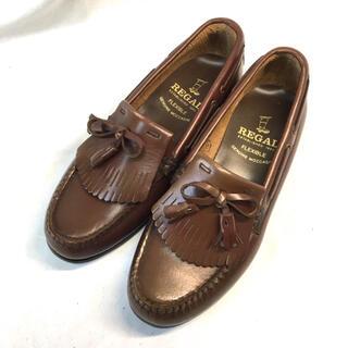 リーガル(REGAL)の極美品 リーガル レディース 革靴 フリルタッセルローファー リボン 23.5(ローファー/革靴)