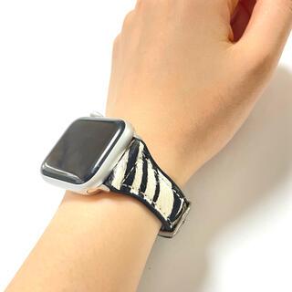 アップルウォッチ(Apple Watch)の馬革 レザー ゼブラ柄 アップルウォッチ ベルト バンド(腕時計)