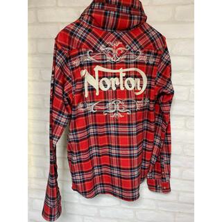 Norton - Norton ノートン チェックシャツ 長袖 フード Mサイズ 刺繍