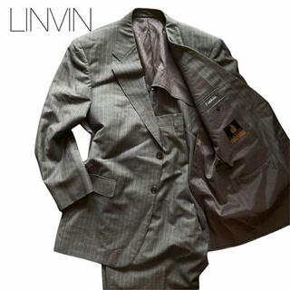 ランバン(LANVIN)のランバン スーツ グレー メンズ ストライプ ツータック ノッチドラペル(セットアップ)