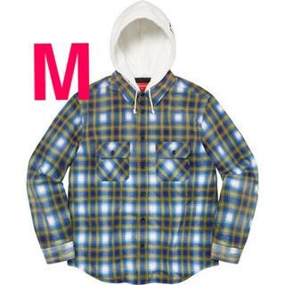 Supreme - Supreme Hooded Flannel Zip Up Shirt Blue