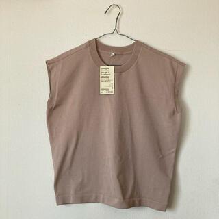 MUJI (無印良品) - 【未使用】無印良品 UVカット強撚スリーブレスニットTシャツ〈ベージュ〉S