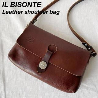 IL BISONTE - イルビゾンテ レザー フラップ ショルダーバッグ サコッシュ ブラウン