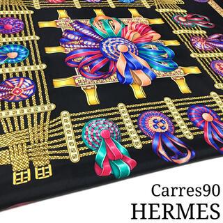 Hermes - ☆極美品☆エルメス カレ90 大判 スカーフ(ブラック/黒色、馬のリボン)