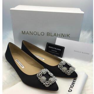 MANOLO BLAHNIK - 新品未使用 マノロ ハンギシ ローヒール ブラック 24cm