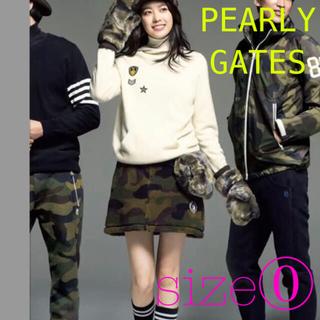 PEARLY GATES - パーリーゲイツ カシミヤ ニット パーカー カモフラ ボア スカート 0