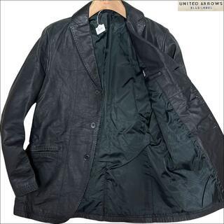 ユナイテッドアローズ(UNITED ARROWS)のJ6150 美品 ユナイテッドアローズ レザーテーラードジャケット ブラック M(テーラードジャケット)